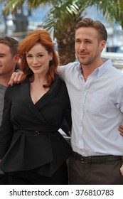 "CANNES, FRANCE - MAY 20, 2014: Ryan Gosling & Christina Hendricks at the photocall for their movie ""Lost River"" at the 67th Festival de Cannes."