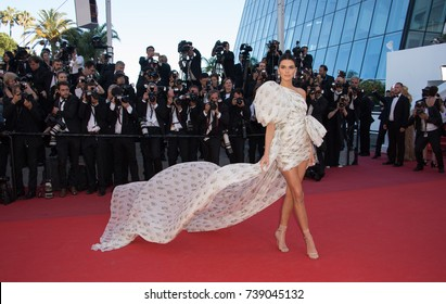 "CANNES, FRANCE. May 20, 2017: Kendall Jenner at the premiere for ""120 Beats per Minute"" at the 70th Festival de Cannes"