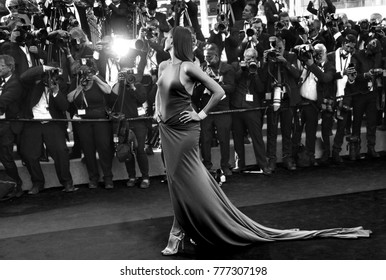 "CANNES, FRANCE. May 20, 2017: Isabeli Fontana at the premiere for ""120 Beats per Minute"" at the 70th Festival de Cannes"