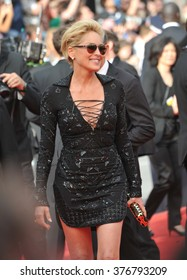 "CANNES, FRANCE - MAY 21, 2014: Sharon Stone at the gala premiere of ""The Search"" at the 67th Festival de Cannes."