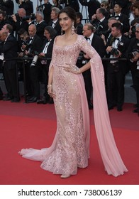"""CANNES, FRANCE. May 21, 2017: Sonam Kapoor at the premiere for """"The Meyerowitz Stories"""" at the 70th Festival de Cannes"""