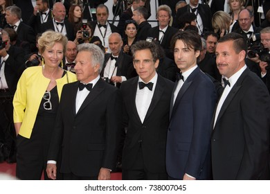 "CANNES, FRANCE. May 21, 2017: Emma Thompson, Ben Stiller, Dustin Hoffman, Noah Baumbach & Adam Sandler at the premiere for ""The Meyerowitz Stories"" at the 70th Festival de Cannes"