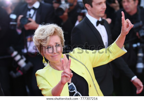 """CANNES, FRANCE. May 21, 2017: Emma Thompson at the premiere for """"The Meyerowitz Stories"""" at the 70th Festival de Cannes"""