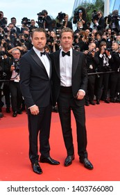 """CANNES, FRANCE. May 21, 2019: Brad Pitt & Leonardo DiCaprio at the gala premiere for """"Once Upon a Time in Hollywood"""" at the Festival de Cannes.Picture: Paul Smith / Featureflash"""