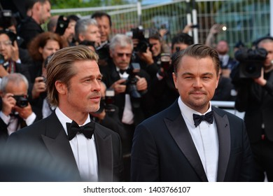 "CANNES, FRANCE. May 21, 2019: Brad Pitt & Leonardo DiCaprio at the gala premiere for ""Once Upon a Time in Hollywood"" at the Festival de Cannes.