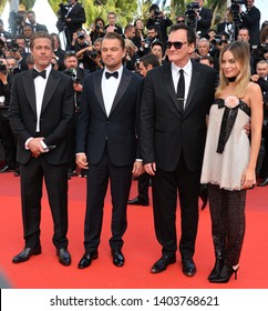 "CANNES, FRANCE. May 21, 2019: Brad Pitt, Leonardo DiCaprio, Quentin Tarantino & Margot Robbie at the gala premiere for ""Once Upon a Time in Hollywood"" Picture: Paul Smith / Featureflash"
