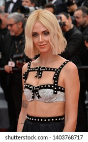 "CANNES, FRANCE. May 21, 2019: Chiara Ferragni at the gala premiere for ""Once Upon a Time in Hollywood"" at the Festival de Cannes.