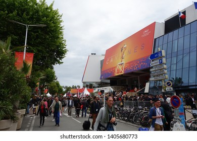 CANNES, FRANCE - MAY 21, 2019: Palais des Festivals building and entrance of the 72th International Film Festival