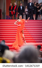 """CANNES, FRANCE - MAY 21, 2019: Winnie Harlow attends the screening of """"Once Upon A Time In Hollywood"""" during the 72nd annual Cannes Film Festival"""