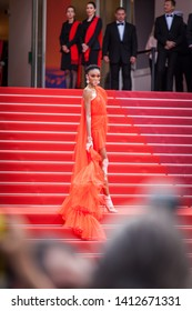 "CANNES, FRANCE - MAY 21, 2019: Winnie Harlow attends the screening of ""Once Upon A Time In Hollywood"" during the 72nd annual Cannes Film Festival"