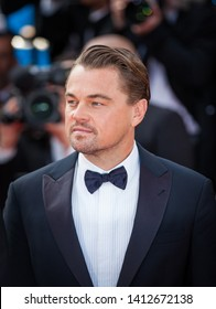 """CANNES, FRANCE - MAY 21, 2019: Leonardo Di Caprio attends the red carpet before the screening of """"Once Upon A Time In Hollywood"""" during the 72nd annual Cannes Film Festival"""