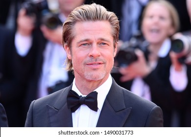"""CANNES, FRANCE - MAY 21, 2019: Premiere of the film """"Once Upon A Time In Hollywood"""" during the 72nd Cannes Film Festival - Brad Pitt"""