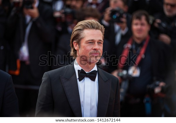 """CANNES, FRANCE - MAY 21, 2019:  Brad Pitt attends the screening of """"Once Upon A Time In Hollywood"""" during the 72nd annual Cannes Film Festival"""