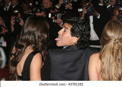 CANNES, FRANCE - MAY 21: Argentinean football legend Diego Maradona and guests attends the 'Che' premiere at the Palais des Festivals during the May 21, 2008 in Cannes, France.