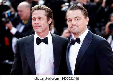 """CANNES, FRANCE - MAY 21: Brad Pitt and Leonardo DiCaprio attend the premiere of the movie """"Once Upon A Time In Hollywood"""" during the 72nd Cannes Film Festival on May 21, 2019 in Cannes, France."""