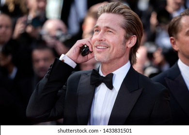 """CANNES, FRANCE - MAY 21: Brad Pitt attends the premiere of the movie """"Once Upon A Time In Hollywood"""" during the 72nd Cannes Film Festival on May 21, 2019 in Cannes, France."""