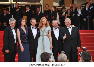 "CANNES, FRANCE - MAY 22, 2009: Samuel Hadida, Amy Gilliam, Lily Cole, Andrew Garfield, Terry Gilliam & Nicola Percorini at the premiere of their new movie ""The Imaginarium of Doctor Parnassus"""