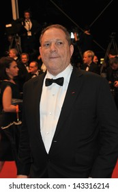 "CANNES, FRANCE - MAY 22, 2013: Harvey Weinstein at gala premiere for ""Only God Forgives"" at the 66th Festival de Cannes."