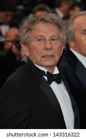 """CANNES, FRANCE - MAY 22, 2013: Roman Polanski at gala premiere for """"All Is Lost"""" at the 66th Festival de Cannes."""
