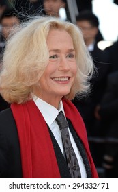"CANNES, FRANCE - MAY 22, 2015: Brigitte Fossey at the gala premiere of ""The Little Prince"" the 68th Festival de Cannes."