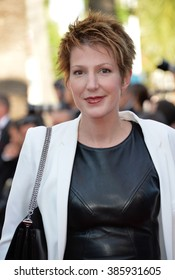 """CANNES, FRANCE - MAY 22, 2015: Natacha Polony at the gala premiere of """"The Little Prince"""" the 68th Festival de Cannes."""