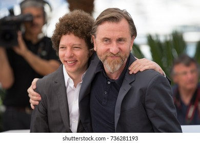 """CANNES, FRANCE - MAY 22, 2015: Michel Franco, Tim Roth attend the 'Chronic"""" photocall. 68th annual Cannes Film Festival at the Palais des Festivals"""