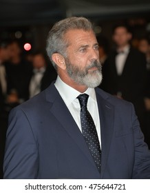 """CANNES, FRANCE - MAY 22, 2016: Actor Mel Gibson at the gala premiere for """"Blood Father"""" at the 69th Festival de Cannes."""