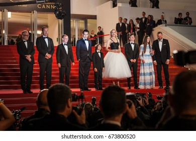 CANNES, FRANCE - MAY 22, 2017: Barry Keoghan, Nicole Kidman, Raffey Cassidy, Colin Farrell, Sunny Suljic and Yorgos Lanthimos attend 'The Killing Of A Sacred Deer' premiere - 70 Cannes Film Festival