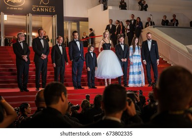 CANNES, FRANCE - MAY 22, 2017:  Barry Keoghan, Nicole Kidman, Raffey Cassidy, Colin Farrell, Sunny Suljic and Yorgos Lanthimos attend 'The Killing Of A Sacred Deer' premiere - 70t Cannes Film Festival