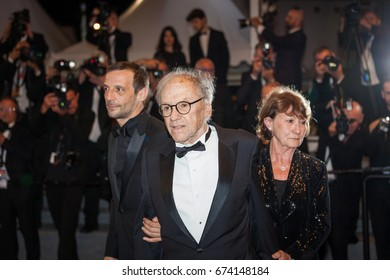 CANNES, FRANCE - MAY 22, 2017: Mathieu Kassovitz, Jean-Louis Trintignant, Marianne Hoepfner attend the 'Happy End' screening during the 70th annual Cannes Film Festival