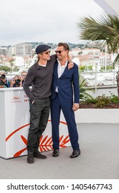 """CANNES, FRANCE - MAY 22, 2019: Brad Pitt and Leonardo DiCaprio attend thephotocall for """"Once Upon A Time In Hollywood"""" during the 72nd annual Cannes Film Festival"""