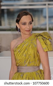 CANNES, FRANCE - MAY 23, 2010: Kristin Scott Thomas at the closing Awards Gala at the 63rd Festival de Cannes.
