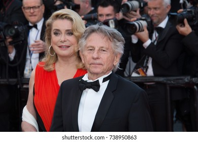 CANNES, FRANCE. May 23, 2017: Catherine Deneuve & Roman Polanski at the 70th Anniversary Gala for the Festival de Cannes