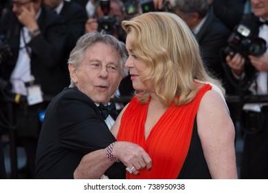 CANNES, FRANCE. May 23, 2017: Catherine Deneuve & Roman Polanski at the 70th Anniversary Gala for the Festival de Cannes