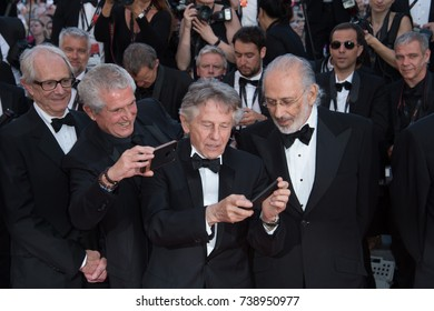 CANNES, FRANCE. May 23, 2017: Ken Loach, Claude Lelouch, Roman Polanski & Jerry Schatzberg at the 70th Anniversary Gala for the Festival de Cannes