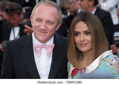 CANNES, FRANCE. May 23, 2017: Salma Hayek & Francois-Henri Pinault at the 70th Anniversary Gala for the Festival de Cannes