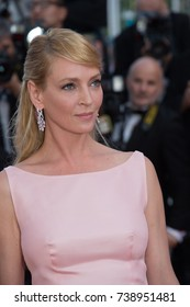 CANNES, FRANCE. May 23, 2017: Uma Thurman at the 70th Anniversary Gala for the Festival de Cannes