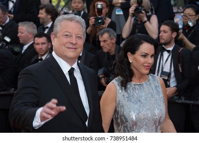 CANNES, FRANCE. May 23, 2017: Former US Vice-President Al Gore & Elizabeth Keadle at the 70th Anniversary Gala for the Festival de Cannes
