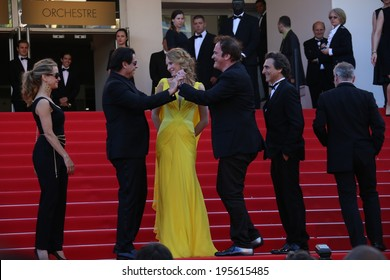 CANNES, FRANCE - MAY 23:Quentin Tarantino; Uma Thurman  attend the 'Clouds Of Sils Maria' premiere at the 67th Annual Cannes Film Festival on May 23, 2014 in Cannes, France.