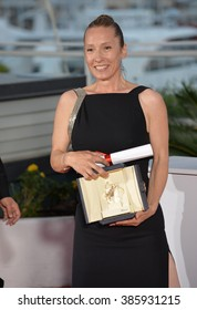 CANNES, FRANCE - MAY 24, 2015: Emmanuelle Bercot - joint winner of the Best Actress Award - at the winners' photocall at the 68th Festival de Cannes.