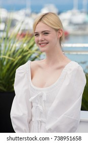 "CANNES, FRANCE. May 24, 2017: Elle Fanning at the photocall for ""The Beguiled"" at the 70th Festival de Cannes"
