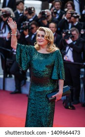 """CANNES, FRANCE - MAY 25, 2019:  Catherine Deneuve attends the closing ceremony screening of """"The Specials"""" during the 72nd annual Cannes Film Festival"""