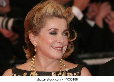 CANNES, FRANCE - MAY 25: Actress Catherine Deneuve arrives for the Palme d'Or Closing Ceremony at the Palais des Festivals during the 61st  Cannes Film Festival on May 25, 2008 in Cannes, France.
