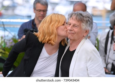 """CANNES, FRANCE. May 27, 2017: Roman Polanski & Emmanuelle Seigner at the photocall for """"Based on a True Story"""" at the 70th Festival de Cannes"""