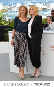 "CANNES, FRANCE. May 27, 2017: Novelist Delphine de Vigan & Emmanuelle Seigner at the photocall for ""Based on a True Story"" at the 70th Festival de Cannes"