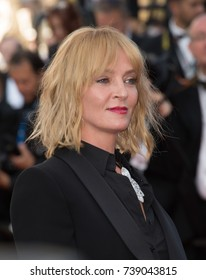 "CANNES, FRANCE. May 27, 2017: Uma Thurman at the premiere for ""Based on a True Story"" at the 70th Festival de Cannes"