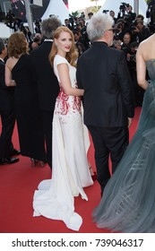 CANNES, FRANCE. May 28, 2017: Jessica Chastain at the Closing Gala for the 70th Festival de Cannes