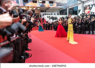 CANNES, FRANCE - MAY 9, 2018: Leomie Anderson attends the screening of 'Yomeddine' during the 71st annual Cannes Film Festival