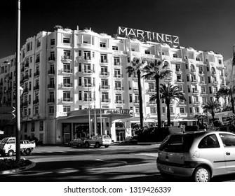 CANNES, FRANCE - NOVEMBER 3, 2003: Famous Grand Hyatt Cannes Hotel Martinez at Boulevard de La Croisette in Cannes, France on November 3, 2003. Hotel offers 409 comfortable guestrooms.