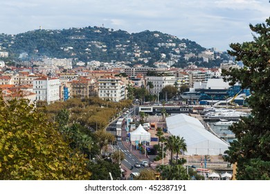 CANNES, FRANCE - NOVEMBER 3, 2014: Panoramic view of the city